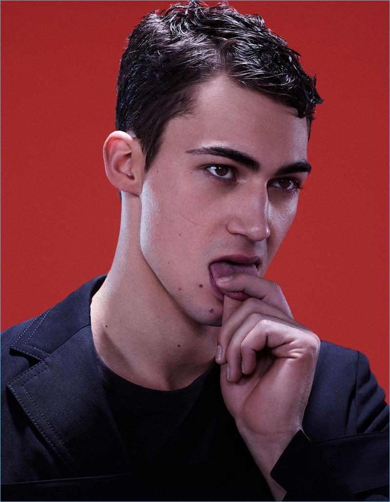 Italian model Alessio Pozzi wears a top and blazer from Marni.