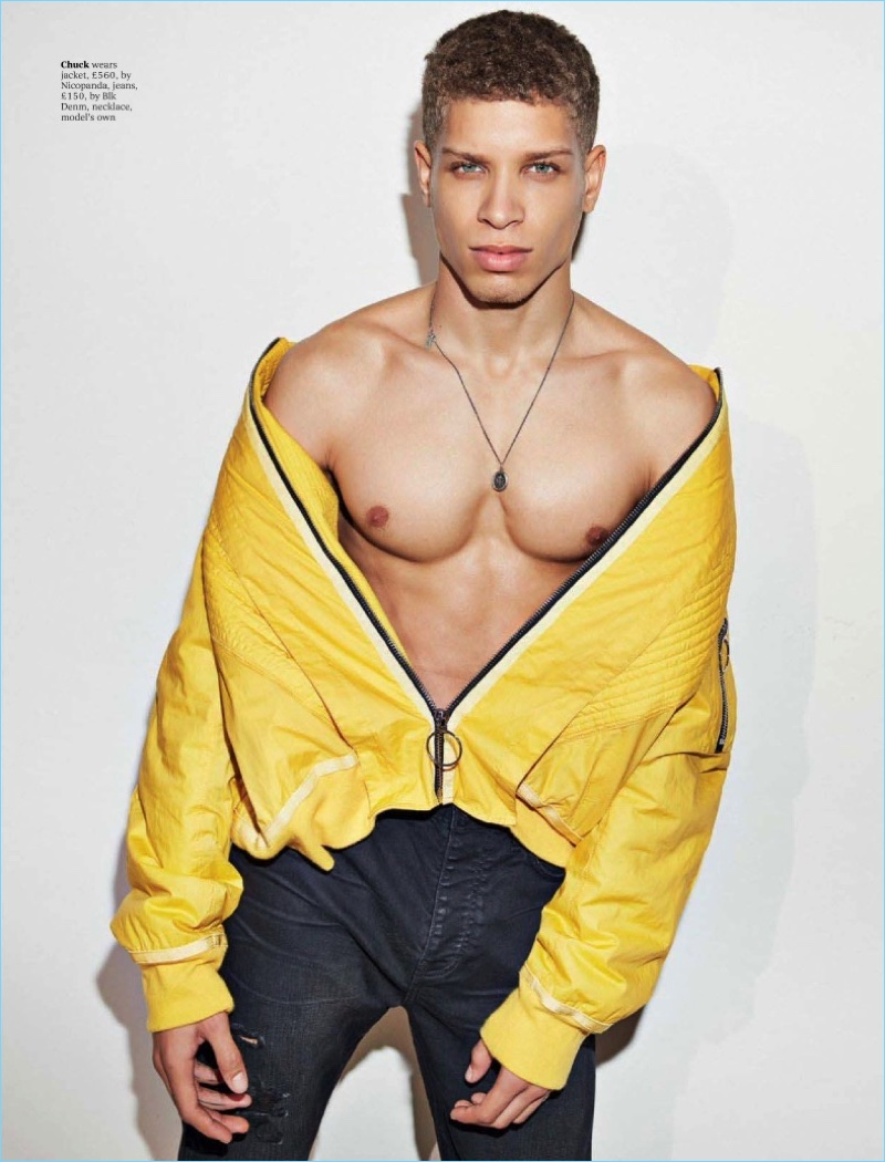 Model Chuck Achike sports a yellow jacket by Nicopanda with BLK DNM jeans.