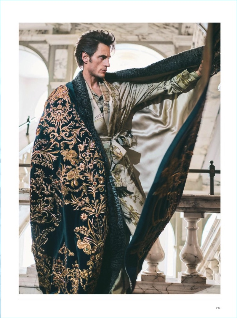 Axel Hermann dons decadent printed fashions from Dolce & Gabbana Alta Sartoria.