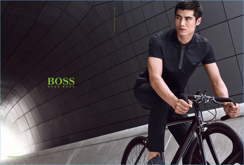 Going for a bike ride, Hao Yun Xiang fronts BOSS Green's spring-summer 2017 campaign.