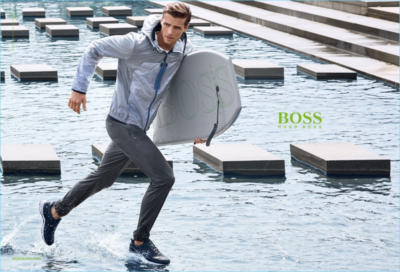 British model Edward Wilding makes a sporty dash in BOSS Green's spring-summer 2017 campaign.