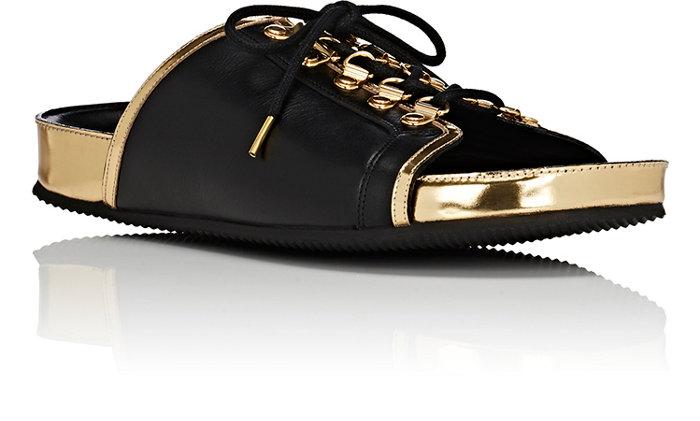 c805edf1166 Balmain Mens Leather Lace-Up Slide Sandals