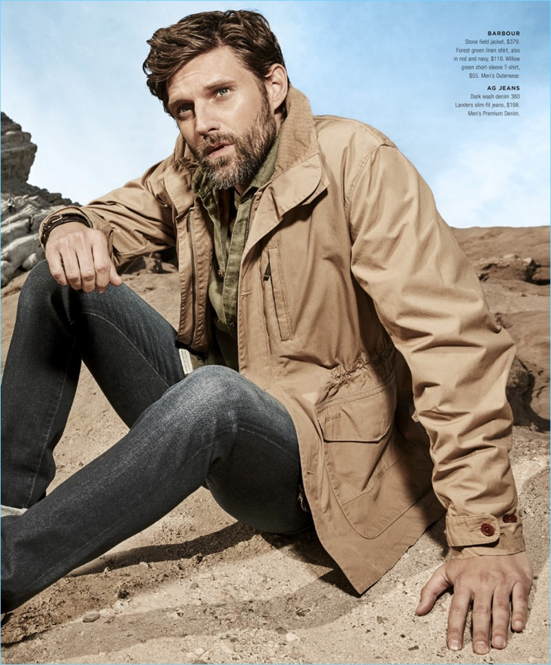 RJ Rogenski wears a Barbour field jacket $379, linen shirt $119, and t-shirt $55. The American model also sports AG Jeans Landers slim-fit jeans $198.