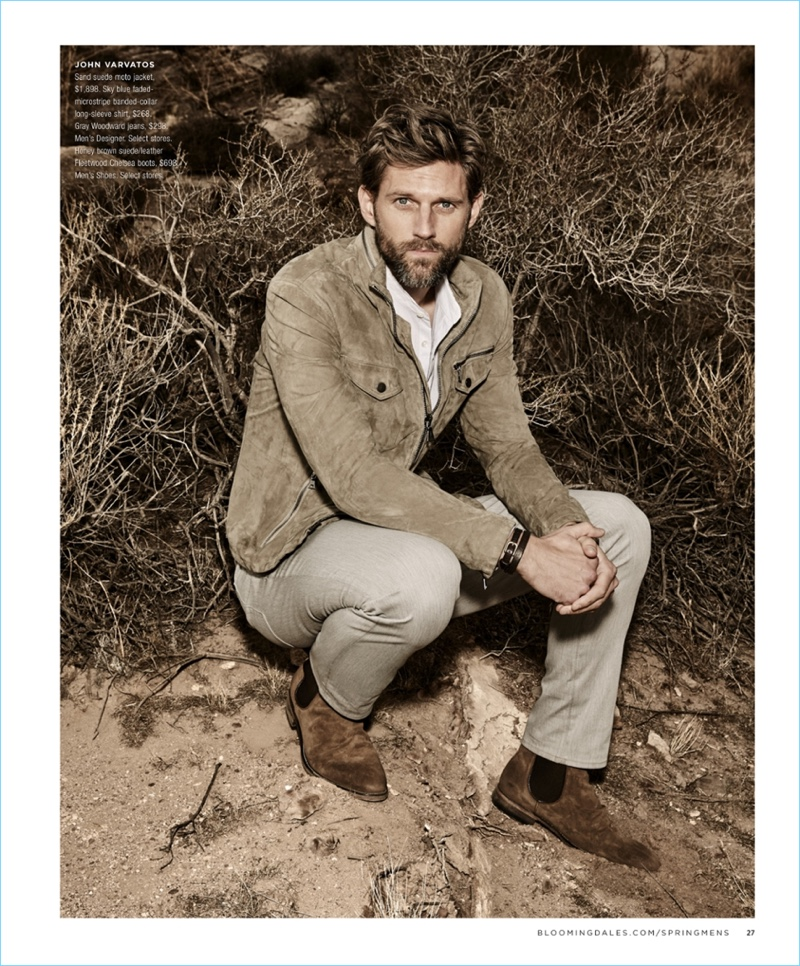 Visiting California, RJ Rogenski wears a John Varvatos moto jacket $1,898. He also models a John Varvatos banded-collar shirt $268 with gray Woodward jeans $298 and Chelsea boots $698.