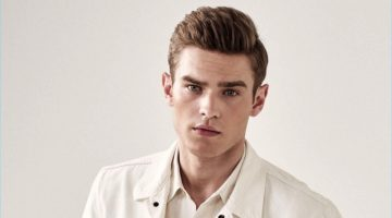 Bo Develius stars in a white themed fashion editorial for King magazine.