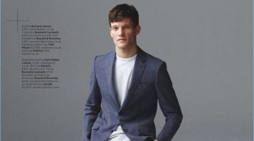 Danny Beauchamp dons a Richard James suit with a Brunello Cucinelli t-shirt and Russell & Bromley sandals.