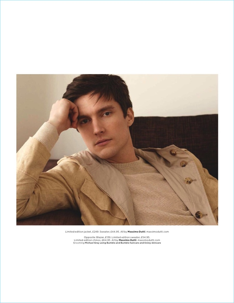 Appearing in a Massimo Dutti advertorial for British GQ, Charlie Timms wears a neutral Limited Edition jacket with a sweater.