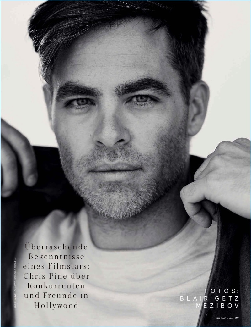 Actor Chris Pine wears a Lanvin jacket with a Brunello Cucinelli pullover.