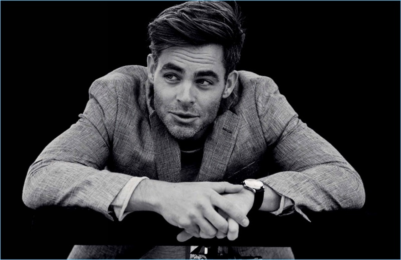Blair Getz Mezibov photographs Chris Pine in a Brooks Brother blazer with a Bassike t-shirt, and Jaeger-Lecoultre watch.