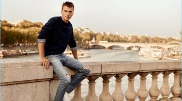 French model Clément Chabernaud wears skinny jeans, ripped at the knees, for AG Jeans' spring-summer 2017 campaign.