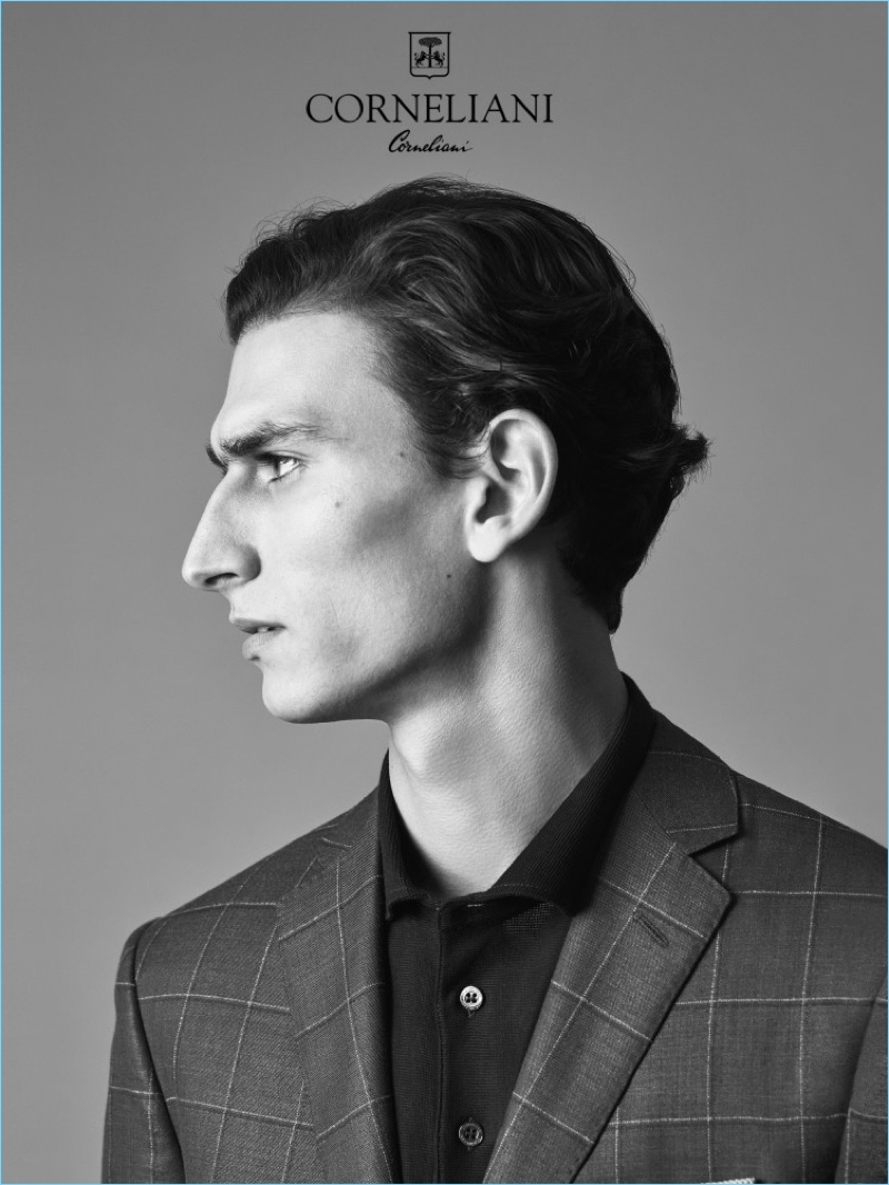 Delivering a side profile, Thibaud Charon fronts Corneliani's spring-summer 2017 campaign.