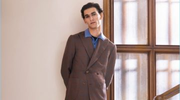 Front and center, Thibaud Charon dons a chic look from Corneliani for the brand's spring-summer 2017 campaign.