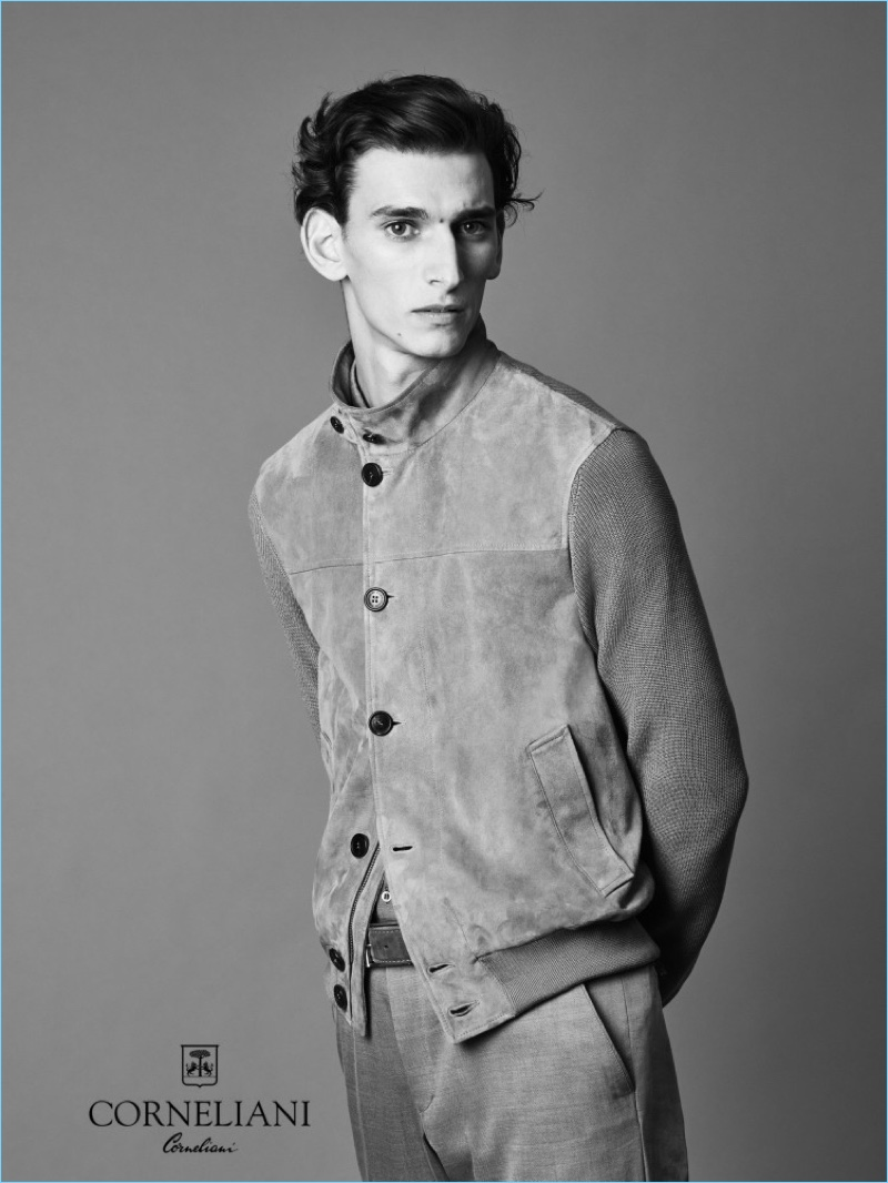 Appearing in a striking black and white image, Thibaud Charon fronts Corneliani's spring-summer 2017 campaign.