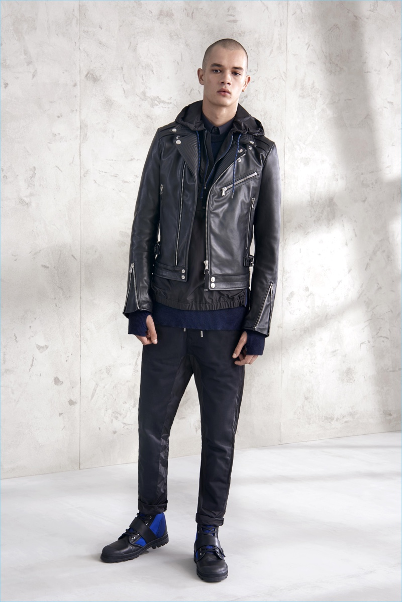 A cool edge is amplified with one of Diesel Black Gold's wardrobe staples–the leather biker jacket.