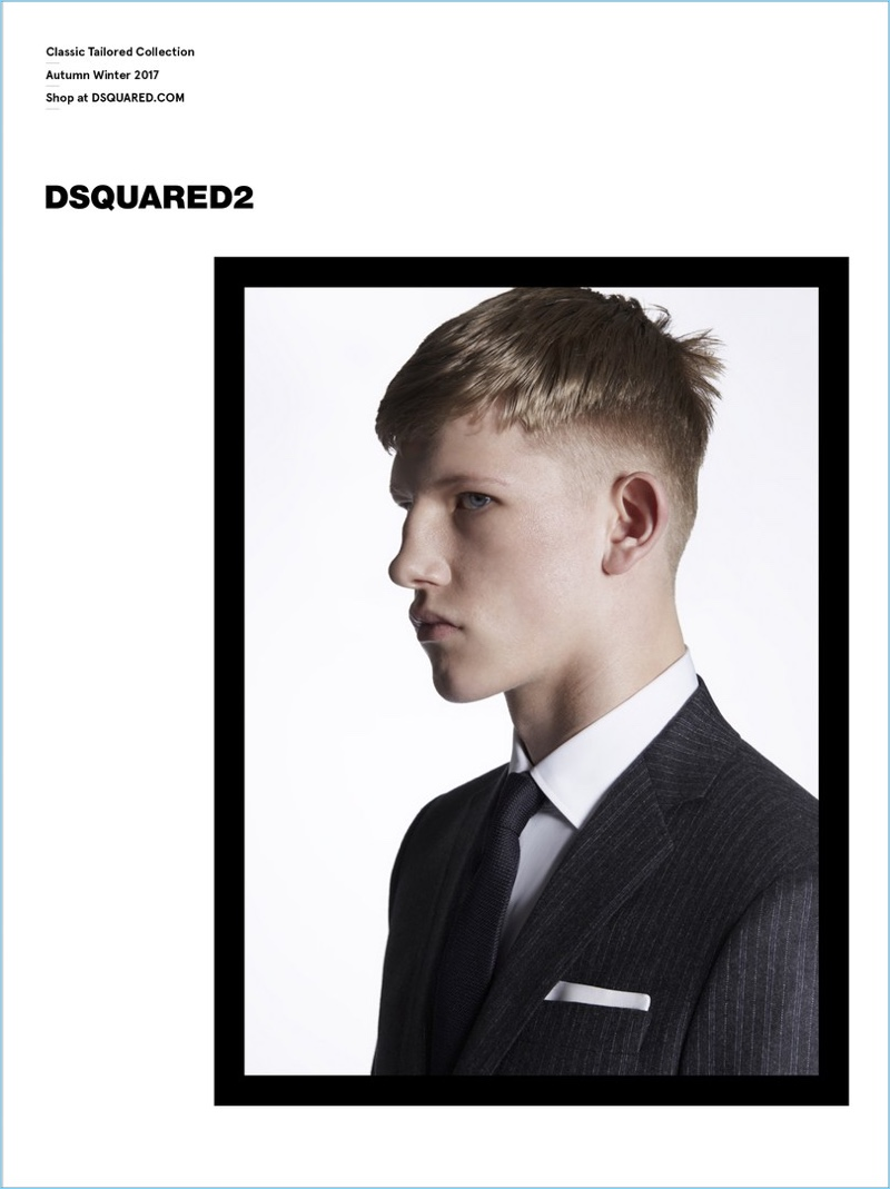 Model Connor Newall stars in Dsquared2's Classic Tailored Collection fall-winter 2017 campaign.