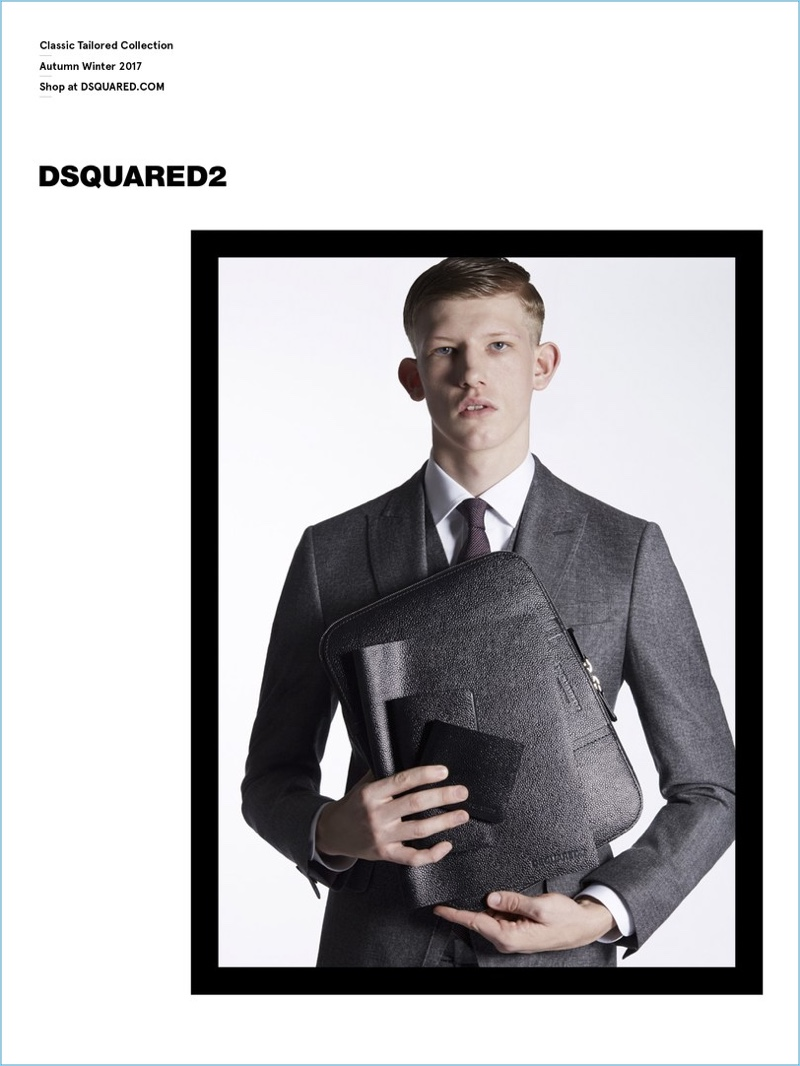 Connor Newall suits up for Dsquared2's Classic Tailored Collection fall-winter 2017 campaign.