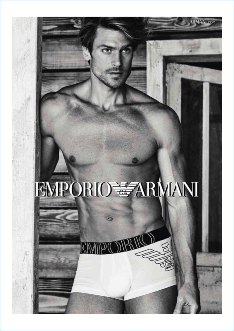 Giampaolo Sgura photographs Jason Morgan for Emporio Armani's 2017 underwear campaign.