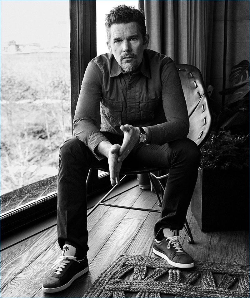 Michael Schwartz photographs Ethan Hawke for Haute Living.