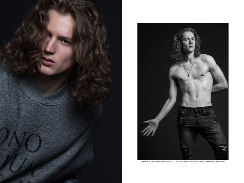 Left: Felix wears short-sleeve sweater Cadet. Right: Felix wears denim jeans Topman and jewelry Bernard James.