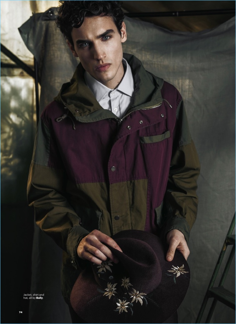 Model Federico Novello rocks a shirt, hat, and jacket from Bally.
