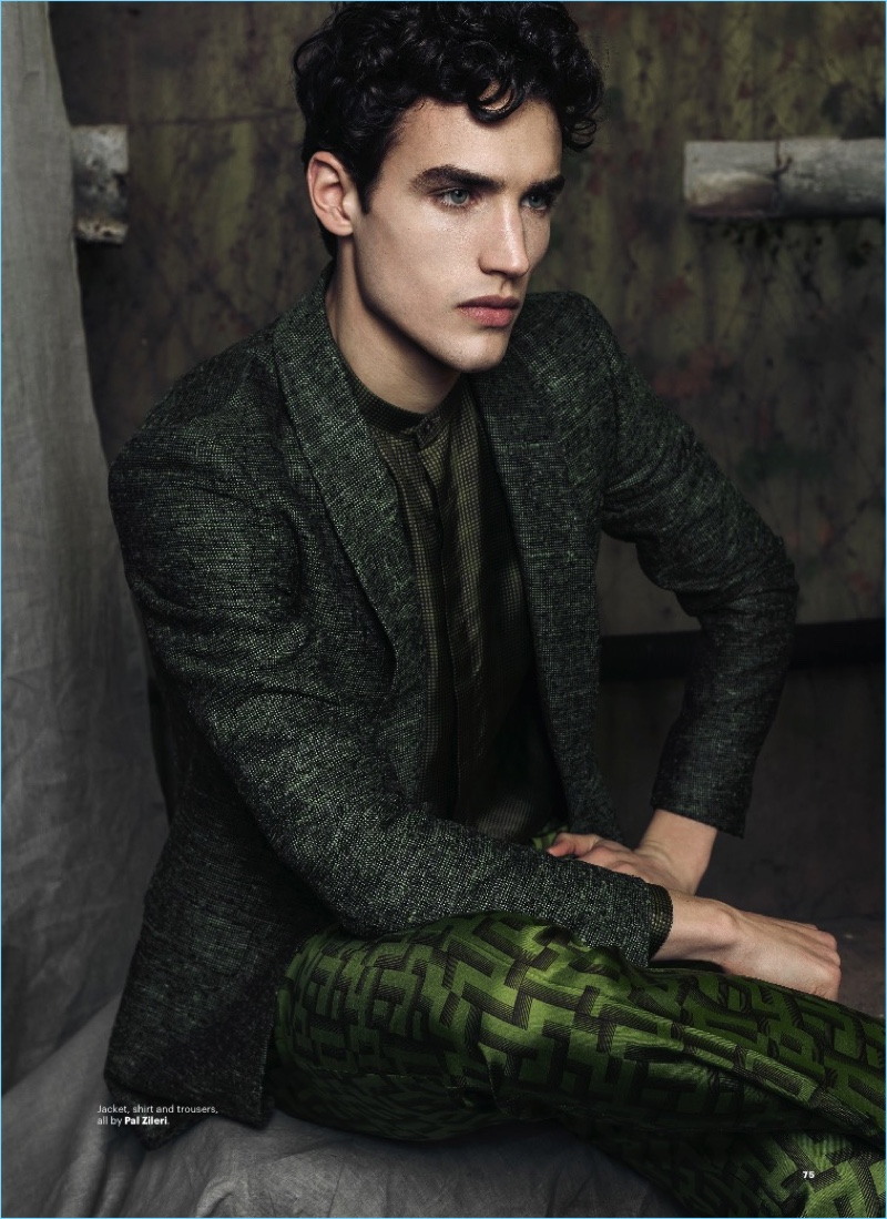 A picture of elegance, Federico Novello wears a shirt, jacket, and trousers by Pal Zileri.