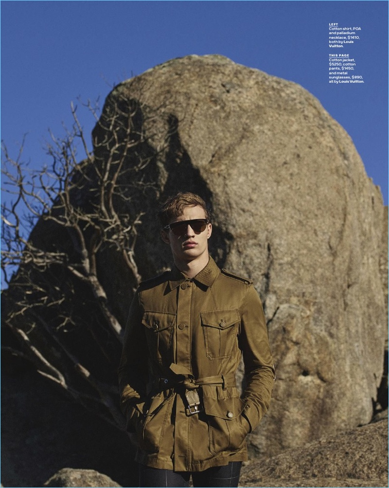 Embracing a safari-inspired look, Julian Schneyder rocks a field jacket by Louis Vuitton.