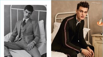 Left: David Trulik wears a three-piece suit by BOSS. Right: Filip Hrivnak wears Dior Homme and Paul Smith.