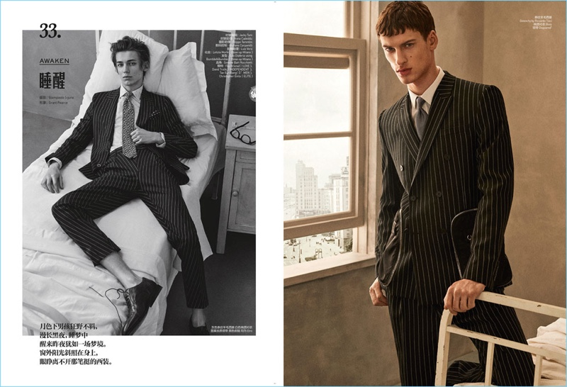 Left: Christopher Einla dons Etro. Right: David Trulik is dashing in Givenchy, BOSS, and Dsquared2.