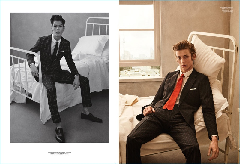 Left: Tae Eun Bang wears BOSS, Paul Smith, and J.M. Weston. Right: Christopher Einla models Dries Van Noten and Paul Smith.
