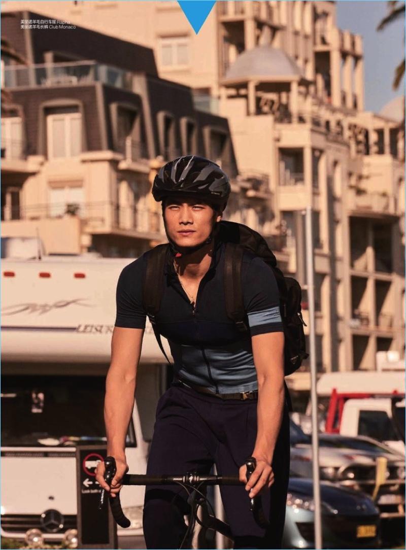 Hao Yun Xiang goes bike riding in a Rapha top with Club Monaco pants.