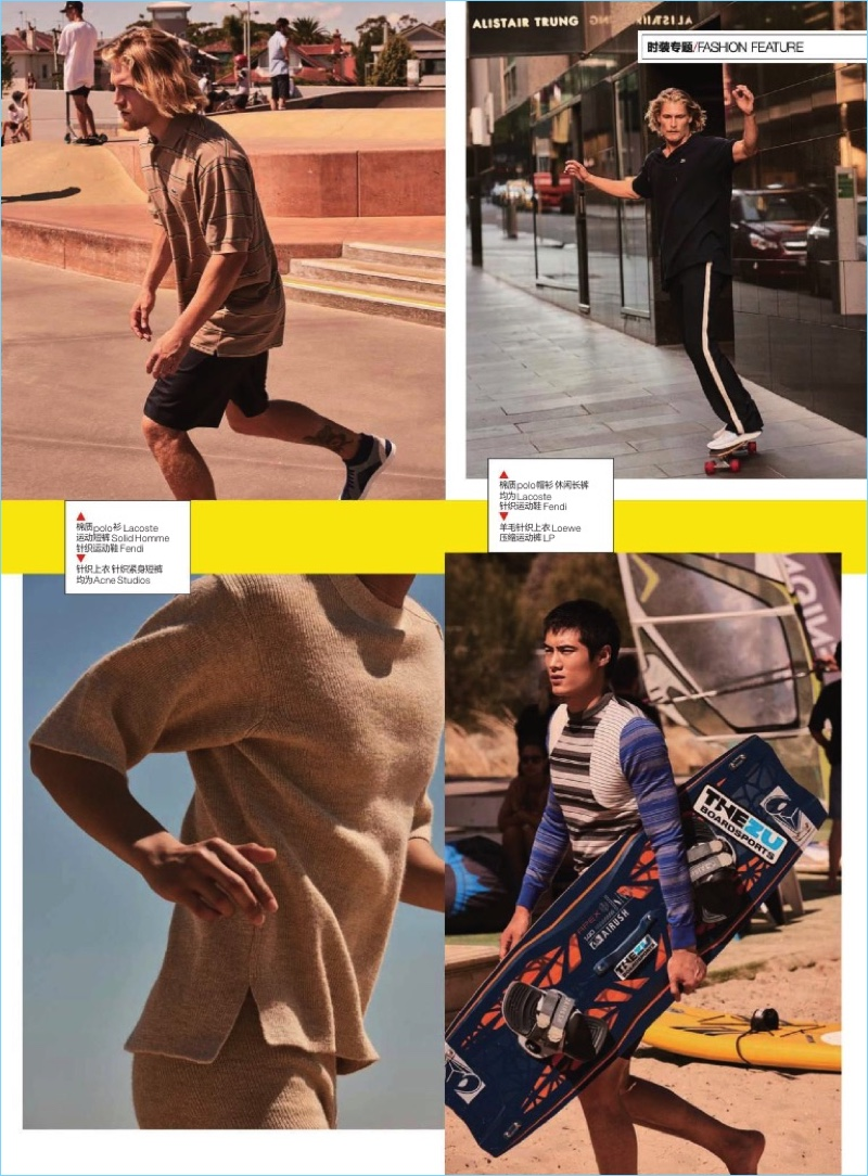 Tackling active styles, Harry Goodwins and Hao Yun Xiang star in an editorial for GQ China.
