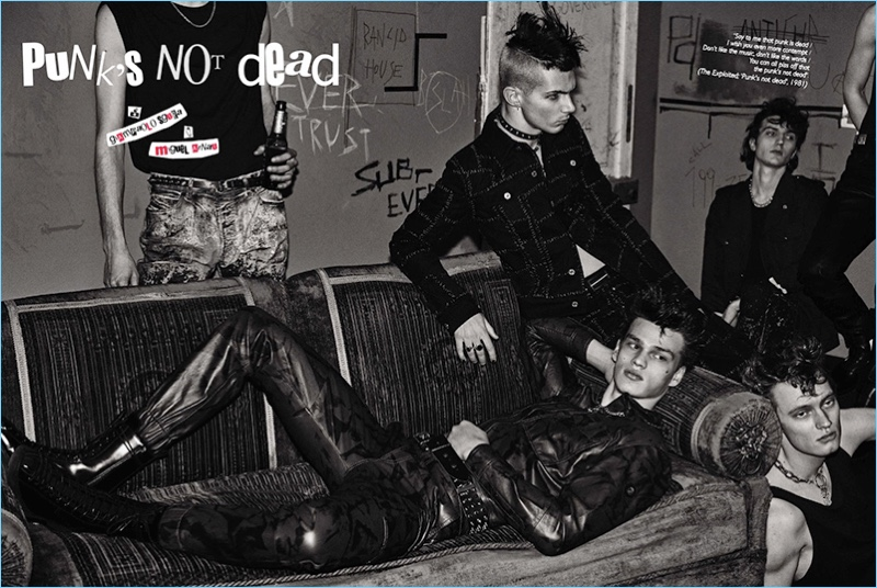 Filip Hrivnak, Jacopo Olmo, Leonardo Gaist and Thom star in a punk-inspired fashion editorial for GQ España.