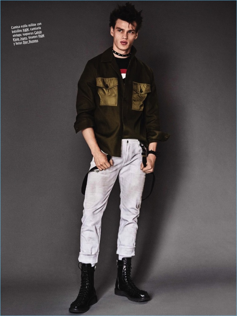 Model Filip Hrivnak sports a H&M overshirt with a vintage tee, Calvin Klein Jeans denim, and Dior Homme boots.