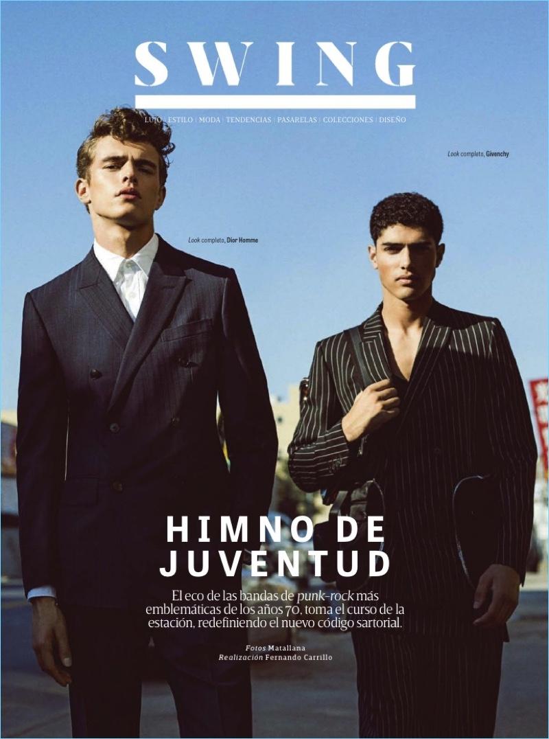 Left to Right: Jordy Baan wears a double-breasted suit and shirt by Dior Homme. Torin Verdone sports a pinstripe Givenchy suit.