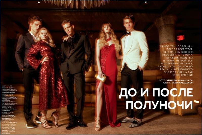 Simon Nessman, Martina Dimitrova, Sean Harju, Grace Corton, and Justin Hopwood don eveningwear for GQ Style Russia.