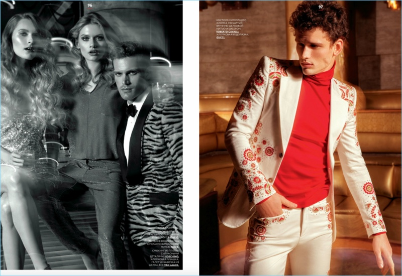Left: Sean Harju dons a leopard print dinner jacket by Moschino. Right: Simon Nessman sports Roberto Cavalli and Gucci.