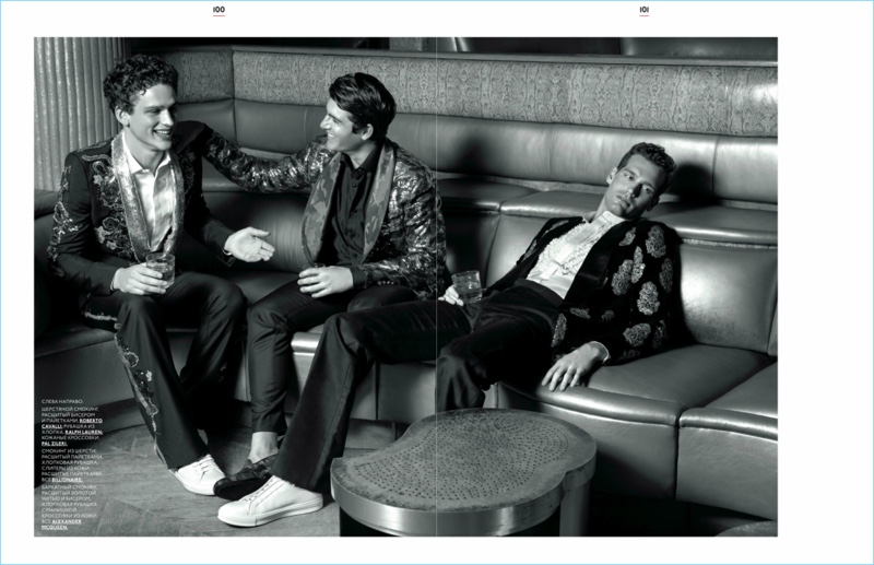 Enjoying drinks, Simon Nessman, Justin Hopwood, and Sean Harju appear in a story for GQ Style Russia.