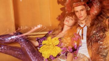 Models Grace Corton and Simon Nessman pose for the pages of GQ Style Russia. Simon wears a look by Dsquared2 and Gucci.
