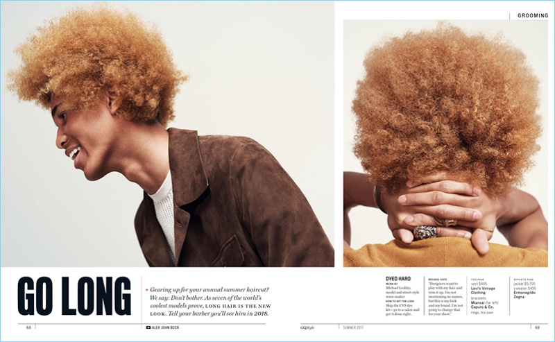 Michael Lockley shows off his golden hued afro for the pages of GQ Style US.