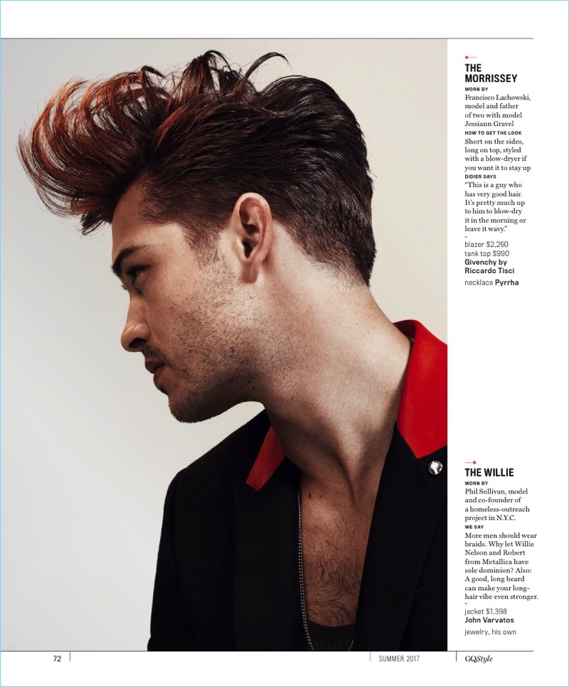 Taking inspiration from Morrissey, Francisco Lachowski rocks a blow-dried look.