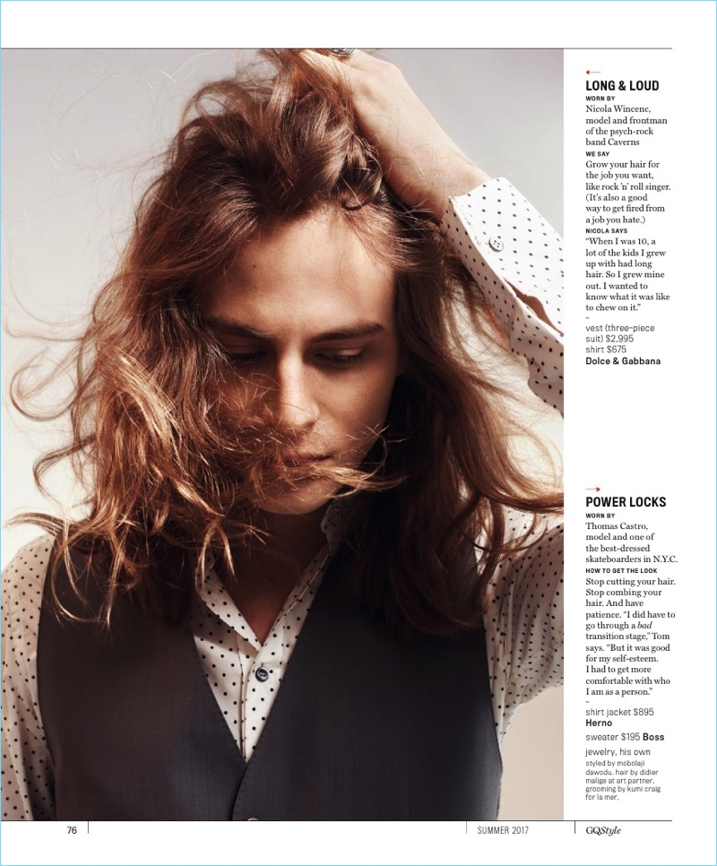 Model and singer Nicola Wincenc rocks a tousled long hairstyle.