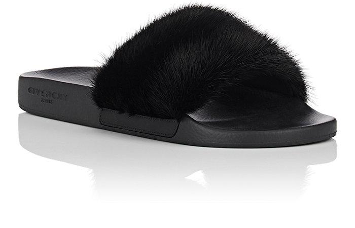 e4e85cf5c96 Givenchy Mens Mink Fur Slide Sandals