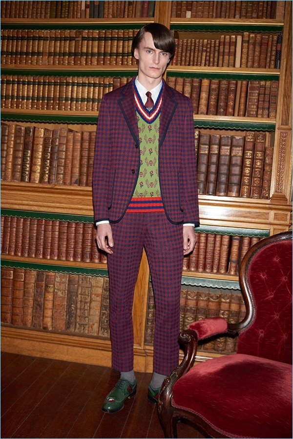 Make a statement in a Gucci burgundy houndstooth suit jacket $1,980 and trousers $680. Gucci brings more prints to the style agenda with its sweater vest $720, heart embroidered shirt $640, appliquéd leather wingtip brogues $1,250, and a tie $200.