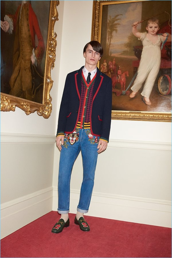 Gucci puts its stamp on preppy style with a Cambridge contrast-tipped blazer $1,990. Complete the look with a Gucci webbing-trimmed houndstooth wool cardigan $1,300, jacquard shirt $540, embroidered jeans $1,250, leather loafers $695, and tie $200.