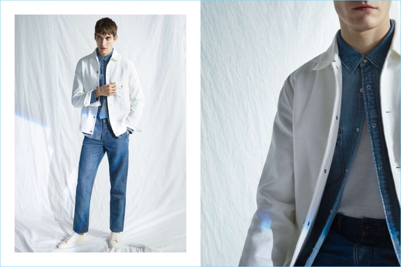 Denim steals the show as Matvey Lykov wears a H&M denim shirt $34.99 with a white denim jacket and denim chinos $39.99.