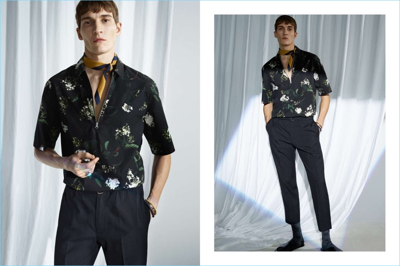 Swedish brand H&M makes a case for peacocking with its latest selection. Front and center, Matvey Lykov dons a short-sleeve printed shirt $39.99, cropped wool trousers $59.99, and leather sandals $34.99.