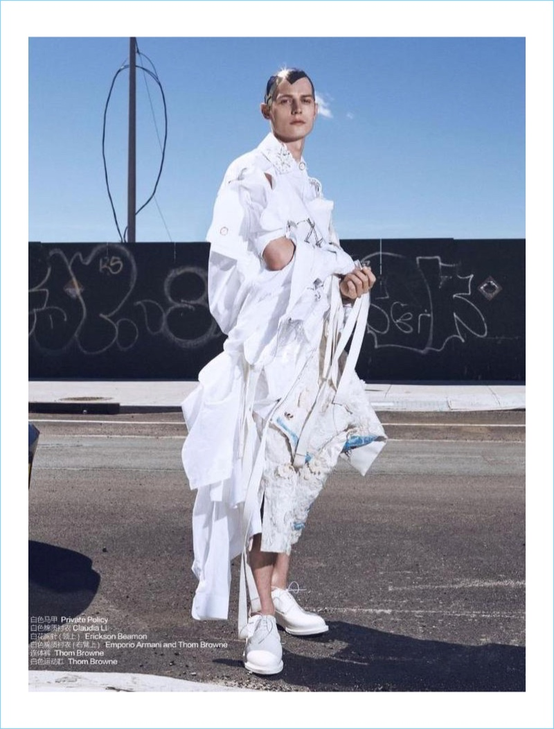 Janis Ancens is a standout in white fashions from labels like Thom Browne and Emporio Armani.