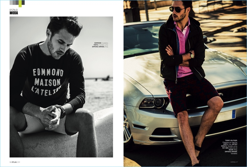 Left to Right: Jábel Balbuena sports an Edmmond sweater with striped Mirto shorts, and an Emporio Armani watch. Relaxing on the hood of a car, Jábel wears a Tommy Hilfiger jacket, Mirto polo, Antony Morato shorts, and Ray-Ban sunglasses. Jábel also accessorizes with a Nixon watch and Emporio Armani sandals.