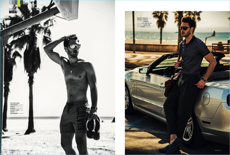 Left to Right: Taking to the beach, Jábel Balbuena sports Calvin Klein swim shorts with Oakley sunglasses and Havaianas sandals. Jábel also wears a Thomas Sabo necklace, Dueros bracelet, and Nixon watch. Posing outside a convertible, Jábel dons an Antony Morato polo with Giorgio Armani trousers and Carrera sunglasses. Jábel accessorizes with Lyle & Scott sunglasses, a Hamilton watch, and Clarks shoes.