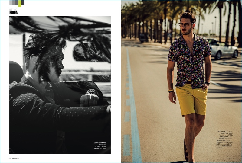 Left to Right: Going for a cruise, Jábel Balbuena wears a Giorgio Armani blouson jacket with an Olimpo shirt and TAG Heuer watch. Taking a stroll, Jábel rocks a Just Cavalli floral print shirt with Tommy Hilfiger shorts. Jábel also wears a Etnia Barcelona glasses, a Dueros bracelet, Thomas Sabo necklace, Wenger watch, and Birkenstock sandals.